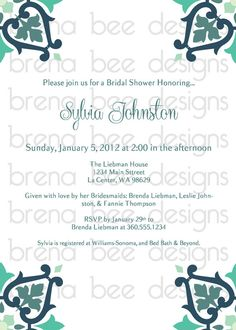 Arabella Style Wedding/Shower Invitation Custom by brenabeedesigns, $10.00