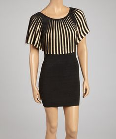 Take a look at this Black & Beige Sunburst Dolman Dress by Young Threads on #zulily today! Misses Clothing, Frocks, That Look, Stripes, Beige, Affair, Casual, Skirts, Silhouette