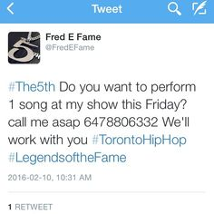 #LegendsOfTheFame Do you want to Perform 1 song Fri.Feb.12.2016 #SilverDollarRoom 486 Spadina ave.  #AllStarWeekend call me direct 6478806332  #TorontoHipHop sign up for a performance slot today 6478806332  #Toronto #TO #416 #Tdot #canada #canadian #Tour #Tracks  #torontosgottalent #Artists #Art #Entertainment #HipHop #RnB #Reggae #Dancehall #Urban #bangers #MTL #Ottawa by fredefame