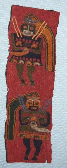 Paracas textile fragment, black plain weave ground covered in fine stem-stitch embroidery depicting two impersonator figures, both shown frontally b...