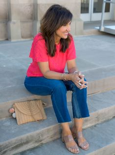 Today I'm styling an eyelet top with ankle flare jeans. This look is perfect for spring or a cool summer day.  #CyndiSpivey #womensfashion #summerstyle #outfitideas #styletips Summer Outfits, Casual Outfits, Cute Outfits, Fashion Outfits, Fashion Over 40, Fashion Looks, 50 Fashion, Ladies Fashion, Spring Fashion