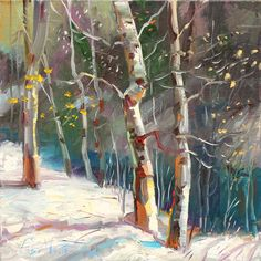"""""""Winter Light"""" by Patrick Matthews. Is it possible? Patrick makes us look forward to first snowfall! #art #fineart #painting #santafe #newmexico #canyonroad #okeeffecountry #newmexicotrue #arttovisit #gallery #painter #artist #winter #fall #autumn #seasons #october #november #december #white #snowfall #snow #snowflake #grey #orange #leaves #forest #tree #trees"""