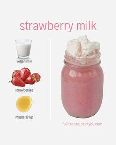 This Strawberry Milk Recipe is vegan, refined sugar free and uses just three simple whole-foods, plant-based ingredients to make a velvety and sweet milk. Fruit Smoothie Recipes, Protein Shake Recipes, Milkshake Recipes, Easy Smoothies, Smoothie Drinks, Protein Smoothies, Juicer Recipes, Smoothie Cleanse, Green Smoothies
