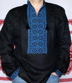 Ukrainian VYSHYVANKA Black Linen mens shirt blue embroidery sz L WEDDING