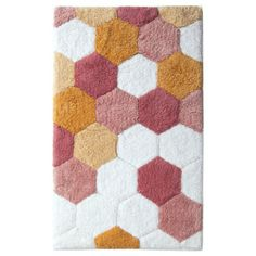 Room Essentials Hexagon Bath Rug - Pink (20x34)