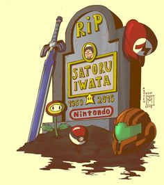 *tears* Satoru-Kun, rest in peace forever always. Thanks for all those years that you have gave Legend of Zelda, Pokemon, Metroid, and Mario the chance to be apart of my life. Illustration Photo, Illustrations, Super Smash Bros, Super Mario Bros, Console Arcade, Dreamworks, Cartoon Network, Satoru Iwata, Video Game Companies