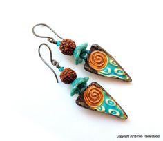 Rudraksha: These wonderfully rustic Boho tribal earrings are a beautiful…