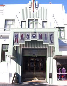 """decoarchitecture: """" Masonic Hotel, Napier, New Zealand Front facade of one of Napier's many, many Deco buildings. booksnlooks: """" Probably one of my favorite Art Deco buildings in Napier, NZ - The. Bauhaus, Architecture Details, Architecture Design, Masonic Lodge, Art Deco Buildings, Art Deco Design, Eclectic Style, Art Deco Fashion, Art Nouveau"""