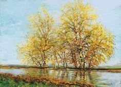 Mednyánszky László Early Spring (Trees by the Water) cm Oil, canvas Signed lower right: Mednyánszky Provenance: once in the collection of Minka Czóbel Spring Tree, Canvas Signs, Artwork Design, Early Spring, Art World, View Image, Impressionism, Antiques, Artist