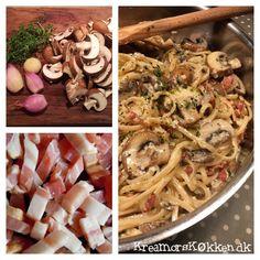 Spaghetti med svampe og bacon