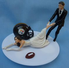 Wedding Cake Topper Pittsburgh Steelers G Football Themed w/ Garter, Display Box on Etsy, $59.99