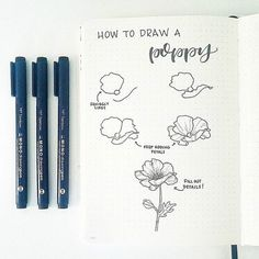 How to Draw Perfect Flower Doodles for Bullet Journal Spreads Botanical Line Drawing, Floral Drawing, Botanical Drawings, Botanical Illustration, Drawing Flowers, Painting Flowers, Poppy Drawing, Diy Painting, Flower Drawings