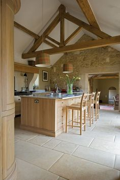 Adorable 58 Unique Farmhouse Kitchen Design Ideas To Try This Season Barn Kitchen, Farmhouse Style Kitchen, Open Plan Kitchen, Country Kitchen, Rustic Kitchen, Modern Farmhouse, Kitchen Island, Kitchen Ideas, Barn Conversion Kitchen