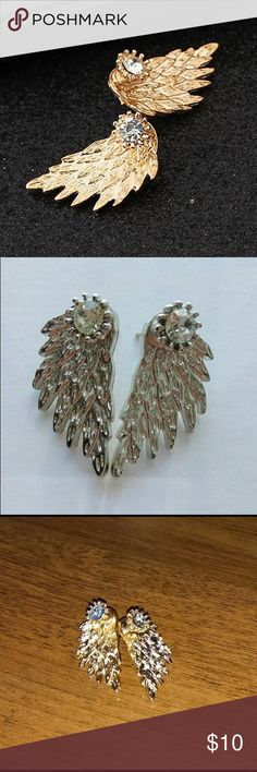 Angel Winged Gold Earrings Women's Angel Wings Stud Earrings Rhinestone Inlaid Alloy Earrings Jewelry Earrings