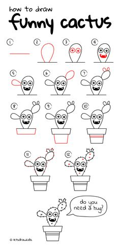 How to draw Funny Cactus. Easy drawing, step by step, perfect for kids! Let's draw kids. http://letsdrawkids.com/