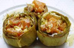 Alcachofas con salmón ahumado y queso