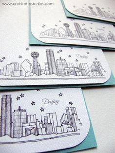 Dallas, Texas - United States - City Skyline Series - Notecards (8)