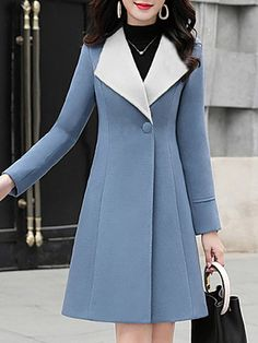 Women's Lapel Single Button Coat Get the latest womens fashion online With of new styles every day from dresses, onesies, heels, & coats, # Iranian Women Fashion, Korean Fashion, High Fashion, Fashion Coat, Womens Fashion, Long Puffer Coat, Faux Fur Hooded Coat, Latest Fashion Clothes, Fashion Dresses