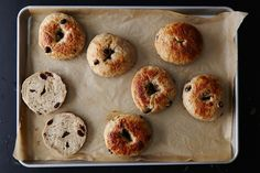 No one can resist a chewy, golden brown bagel studded with raisins and flavored with cinnamon and vanilla. I adapted this from a recipe for plain bagels from Spoonful.