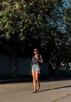 Tibi Blazer and Denim Shorts