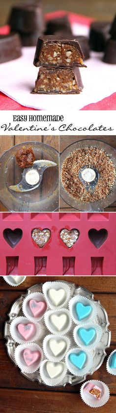 These homemade Valentine's chocolates are easy to make and can be modified for your sweetheart's  taste preferences. Use any chocolate they prefer best (even #vegan or #glutenfree). The filling is made from dates and nuts for natural sweetness and crunch.