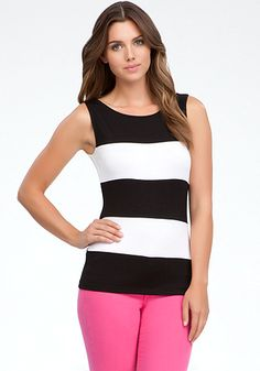 bebe | Wide Stripe Tank Top