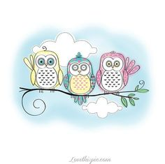 Three Little Owls cute art painting owls drawing