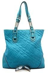 Trendy Turquoise Quilted Hobo Bag Purse with Black Trim