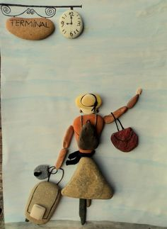♬♡ Pebble Painting, Pebble Art, Stone Painting, Stone Crafts, Rock Crafts, Arts And Crafts, Pebble Pictures, Stone Pictures, Art Pierre
