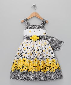 Take a look at this C.I. Castro Gray & Yellow Floral Dress - Toddler & Girls by C.I. Castro on #zulily today!