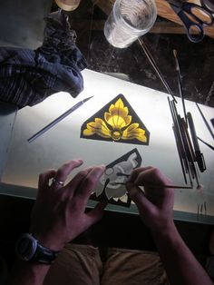 Recreating a border piece for a 100 year old chapel. Painting by Daniel White, artist at Cain ~White. See more @ WWW.waynecain.com Stained Glass Repair, Stained Glass Paint, Stained Glass Windows, Leaded Glass, Beveled Glass, Artist Art, Colored Glass, Glass Art, Carving