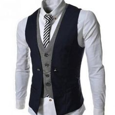 New Autumn Men Vest Suit Waistcoats British Style Casual Blazer False Two Vest Double Breasted Mens Slim Fit Dress Suit Vests Casual Mode, Men's Waistcoat, Mens Suit Vest, Vest Jacket, La Mode Masculine, Herren Outfit, Slim Fit Dresses, Casual Blazer, Fashion Night