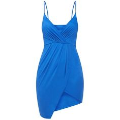 Cobalt Faux Suede Wrap front Strappy Bodycon Dress (190 DKK) ❤ liked on Polyvore featuring dresses, blue body con dress, strap bodycon dress, body conscious dress, blue bodycon dress and faux-leather dress