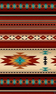 This beautifully illustrated fabric is from Elizabeth's Studios Tucson collection. This fabric has a southwestern pattern with beautiful sunset terracotta and teal Navajo designs and stripes. The stripe in this fabric runs selvage edge to selvage edge. Native American Decor, Native American Patterns, American Indian Art, Native American Indians, Native Americans, Southwestern Decorating, Southwest Decor, Southwest Style, Southwestern Chairs