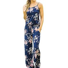 OVERMAL Womens Sleeveless Strap Printed Floral Playsuit Jumpsuits Bodysuits