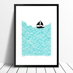 Limited edition, signed print of a little yacht sailing the big blue. This simple, graphic Scandinavian coastal landscape print will brighten your space.