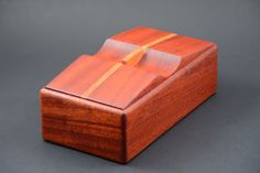Wood box made from Black Walnut with Maple accents keepsake trinket pen pencil