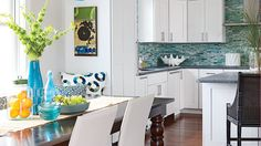 It's a quintessential coastal color that evokes the sea and sky, and it adds a beautiful touch to just about any space. Discover our very favorite Turquoise Tile, Turquoise Room, Coastal Colors, Coastal Decor, Coastal Living, Florida Living, Beach Cottage Style, Beach House, Condo Decorating