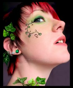 Poison Ivy --- The ivy and the face paint, similar to what I want to do