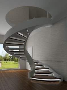 When you find yourself trying to decide upon a design and layout for your home staircase, it can be more than a bit of a challenge to pick something ple. Spiral Stairs Design, Balcony Railing Design, Home Stairs Design, Interior Stairs, Luxury Staircase, Foyer Staircase, Curved Staircase, 20x30 House Plans, House Design Pictures