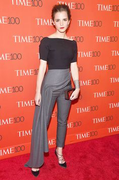 Emma Watson wearing wrap pants on the red carpet