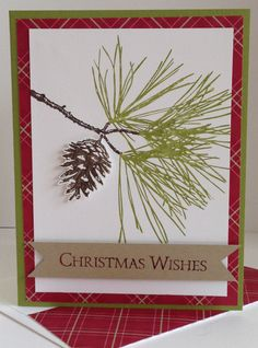 Merry Ornamental Pine by Heather D Heroldt,  Ornamental Pine Stamp Set; Season of Style DSP (retired); Old Olive, Crumb Cake & Whisper White CS; Old Olive, Early Espresso & Cherry Cobbler Inks.
