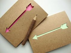 Set of 2 Paper Cut Arrow Cards - Spring Green and Pink. $7.00, via Etsy.