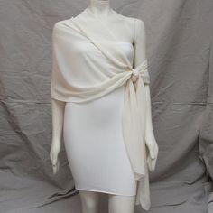 Luxe Ivory Chiffon Bridal Shawl Stole Pashmina Bride Bridesmaid Scarf Wedding 72 X 22