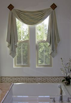 Living Room Drapes, Living Room Decor, Bedroom Decor, Swag Curtains, Home Curtains, Home Room Design, Living Room Designs, Cabinets And Countertops, Kitchen Window Treatments