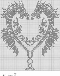 Dragons make a heart cross stitch St Valentine Dragon Cross Stitch, Fantasy Cross Stitch, Cross Stitch Heart, Cross Stitch Animals, Filet Crochet Charts, Crochet Motifs, Knitting Charts, Crochet Patterns, Loom Patterns
