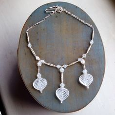 Pipal Leaves shape Rock Crystal Moonstone and Sterling Silver Necklace  £139.00