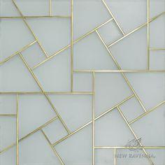 Moderne   Matte Island Fog Glass with Brass inlay   New Ravenna