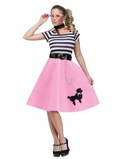 Check out Adult Poodle Skirt Costume - Womens 50s Halloween Costumes from…