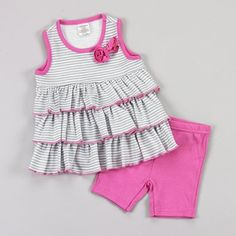 Baby girls 12 month 2 peice short set pink shorts and layered top B509